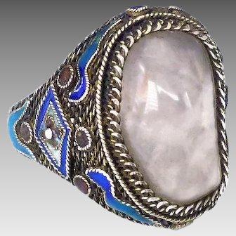 Vintage Chinese Export Rose Quartz, Enamel and Silver Ring, Size 7.5 Adjustable