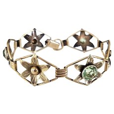 Vintage 12K Gold Filled over Sterling Faux Peridot Green Glass Stone Flower Motif Bracelet by Providence Stock Company