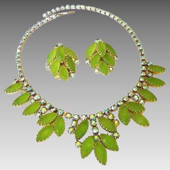 Vintage Juliana Style Simulated Peridot Green Rhinestone Aurora Borealis Necklace and Earrings Set