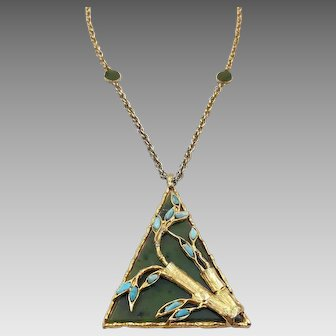 Vintage 1960s Swoboda Green Agate Bamboo Necklace with Turquoise Nuggets