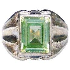 Vintage Vargas Green Citrine Gemstone Sterling Silver Signet Style Ring, Size 7