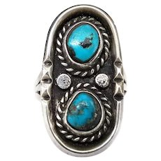 Vintage Sterling Silver and Turquoise Shadow Box Style Old Pawn Native American Ring, Size 6