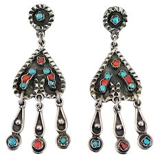 Vintage Taxco Sterling Silver Matl Style Coral and Turquoise Stone Nugget Long Dangle Earrings