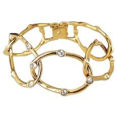Vintage Kenneth Jay Lane KJL Wide Gold Tone Bracelet with Pave Crystal Rhinestones
