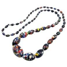 Vintage Italian Murano Glass Bead Extra Long Necklace