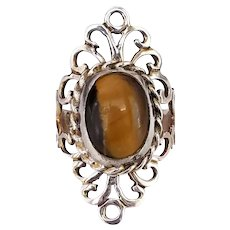 Vintage Mexico Sterling Silver Tigers Eye Elongated Scrolled Knuckle Ring, Size 7