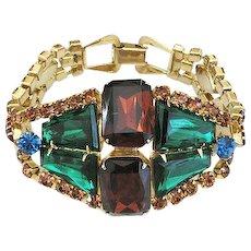 Vintage Juliana Style Wide Green Blue Topaz Rhinestone Bracelet