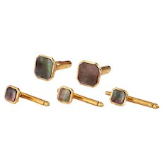 12K Gold Filled Mother of Pearl Cufflinks Shirt Studs Set by Correct Quality, Krementz