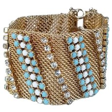 Hobe Gold Tone Wide Mesh Blue and White Rhinestone Bracelet