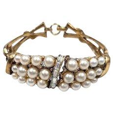 Vintage Coro Faux Pearl Rhinestone Wide Bangle Bracelet