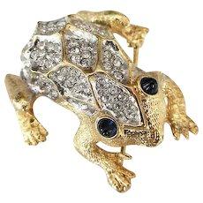 Vintage Weinberg New York Pave Rhinestone Gold Tone Frog Brooch