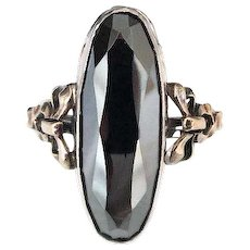 Vintage Clark and Coombs Hematite Stone Sterling and 10K Gold Filled Ring, Size 6.25