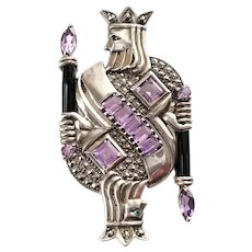 Sterling Marcasite King of Diamonds Brooch with Amethyst, Emerald, Onyx Gemstones by Vintage Creations Co
