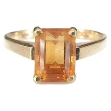 Vintage 14K Gold Citrine Gemstone Ring, Emerald Cut Stone, High Relief, Modernist Design, November Birthstone