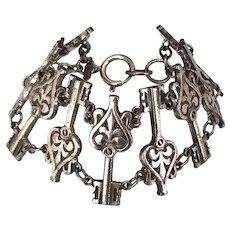 Vintage 1930's Monet Gold Tone Heart Shape Key Charms Wide Bracelet
