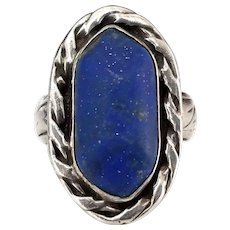 Vintage Native American Sterling Silver Lapis Stone Old Pawn Ring, Hopi Bear Paw, Embossed Band, Size 9