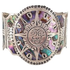 Vintage Mexican Sterling Abalone Shell Inlay Wide Bangle Bracelet with Sun Face and Four Point Star Design