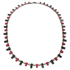 Art Deco Red Black Czech Glass Geometric Necklace with Paste Rhinestones, Marked Czechoslov