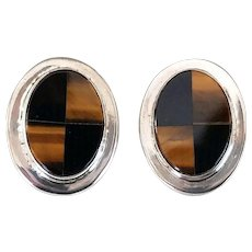 Vintage Taxco Mexico Sterling Onyx Tigers Eye Stone Inlay Clip Earrings