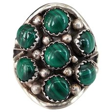 Vintage Sterling Silver Snake Eye Large Chunky Ring with Malachite Stones and Raindrop Accents, Size 10.5