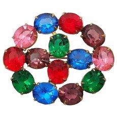 Art Deco Jewel Tone Fruit Salad Faceted Open Back Glass Gems Brooch