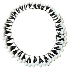 Art Deco Czech Glass Fringe Necklace with Black and White Beads, Egyptian Revival Style