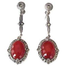 Art Deco Sterling Silver Carnelian Marcasite Drop Screw Back Earrings