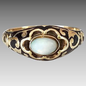 Victorian 10k Gold Opal Ring, Bezel Setting, Fancy Ornate Scrollwork, October Birthstone, Size 4.5