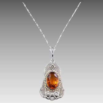 Art Deco Faux Topaz Filigree Pendant Necklace, Silver Rhodium Plated, Paper Clip Chain, Seed Pearls, Paste Rhinestone, November Birthstone