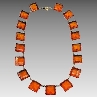 "Art Deco Orange Faux Topaz Faceted Square Glass Gem Choker Necklace, 15"" Long"