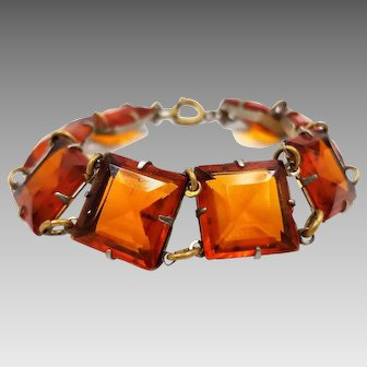 Art Deco Orange Faux Topaz Faceted Square Glass Gem Bracelet
