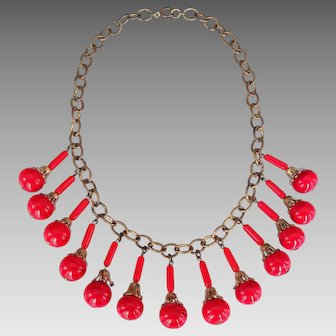 Art Deco Egyptian Revival Red Marbled Art Glass Dangle Fringe Necklace