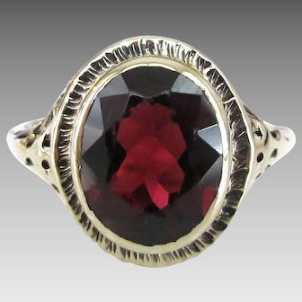 Vintage 14K Gold Solitaire Garnet Ring with Scrolled Setting, January Birthstone, Size 7