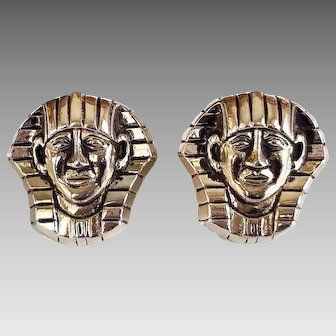 Swank Gold King Tut Cufflinks, Pharaoh, Egyptian King, Collectible Jewelry, Mens Cufflinks, Mid Century, 1950s Jewelry