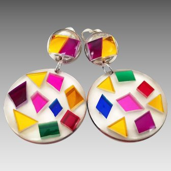 Vintage Angela Caputi Giuggiu Large Multi Color and Clear Lucite Geometric Earrings Made In Italy