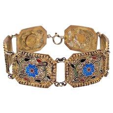 Vintage Sterling Vermeil Filigree Enamel Bracelet, Made in Portugal by Safir