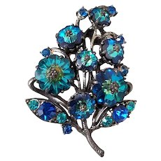 Vintage Weiss Margarita Rivoli Bermuda Blue Peacock Rhinestone Floral Brooch