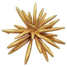 1960s Vintage Boucher Gold Tone Textured Spiked Brooch, Atomic, Sputnik Style, Starburst Pin