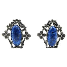 Art Deco Sterling Silver Simulated Lapis Art Glass Floral Screw Back Earrings