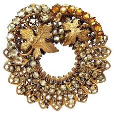 Vintage Miriam Haskell Leaves Wreath Brooch with Orange and Yellow Rhinestones