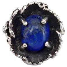 Vintage Sterling Silver Lapis Lazuli Stone Brutalist Ring, Size 6
