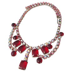 Vintage Red and Hot Pink Aurora Borealis Rhinestone Choker Necklace