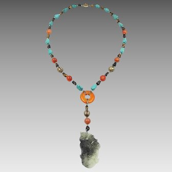 Chinese Export Necklace with Large Carved Jade Pendant, Carnelian Beads, Turquoise Stones, Tigers Eye Knuckle Beads and Silver Filigree Clasp