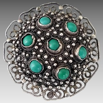 Vintage Chinese Export Silver Filigree Metal Turquoise Stone Domed Brooch