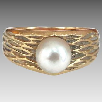 Vintage Birks 18K Gold Genuine Pearl Honeycomb Pattern Modernist Ring
