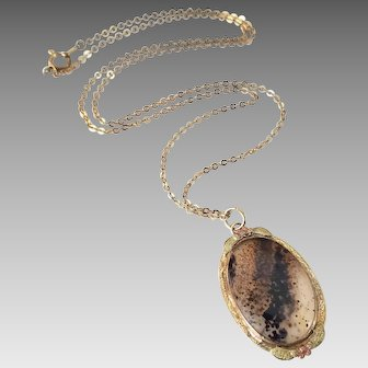 Vintage Conley Company Moss Agate 10K Gold Filled with Rose Gold Accents Pendant Necklace