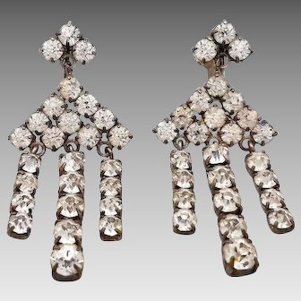 Art Deco Czech Crystal Rhinestone Dangle Drop Earrings, Marked Czechoslovakia