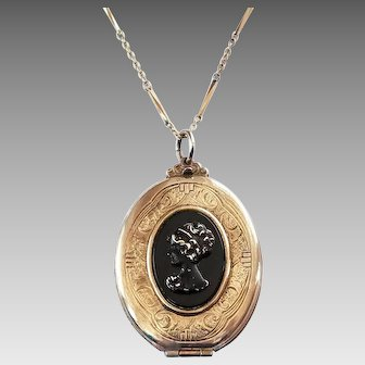 Vintage Faux Onyx Black Cameo Gold Tone Embossed Metal Large Locket Necklace,