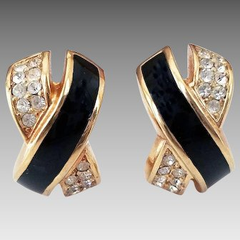 Christian Dior Crisscross Pave Rhinestone Black Enamel Gold Tone Half Hoop Earrings