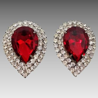 Vintage Musi Teardrop Clear Rhinestone and Faux Ruby Red Faceted Glass Shoe Clips